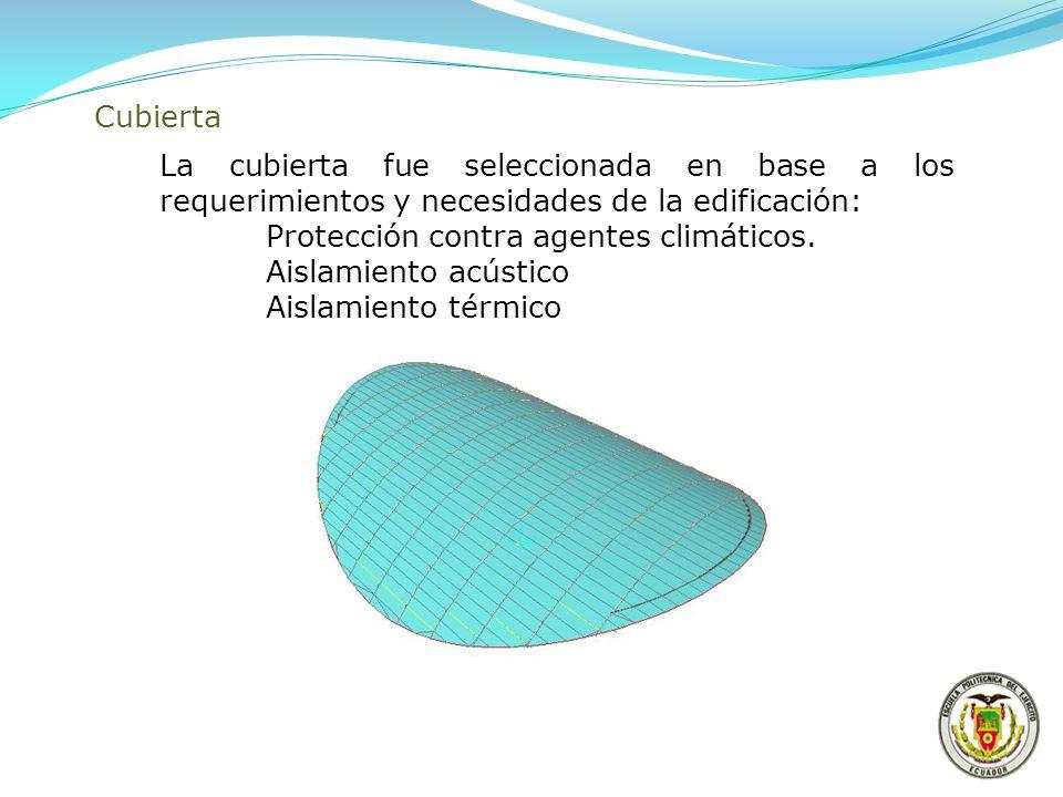 Cubierta La cubierta fue seleccionada en base a los requerimientos y necesidades de la edificación: Protección contra agentes climáticos. Aislamiento