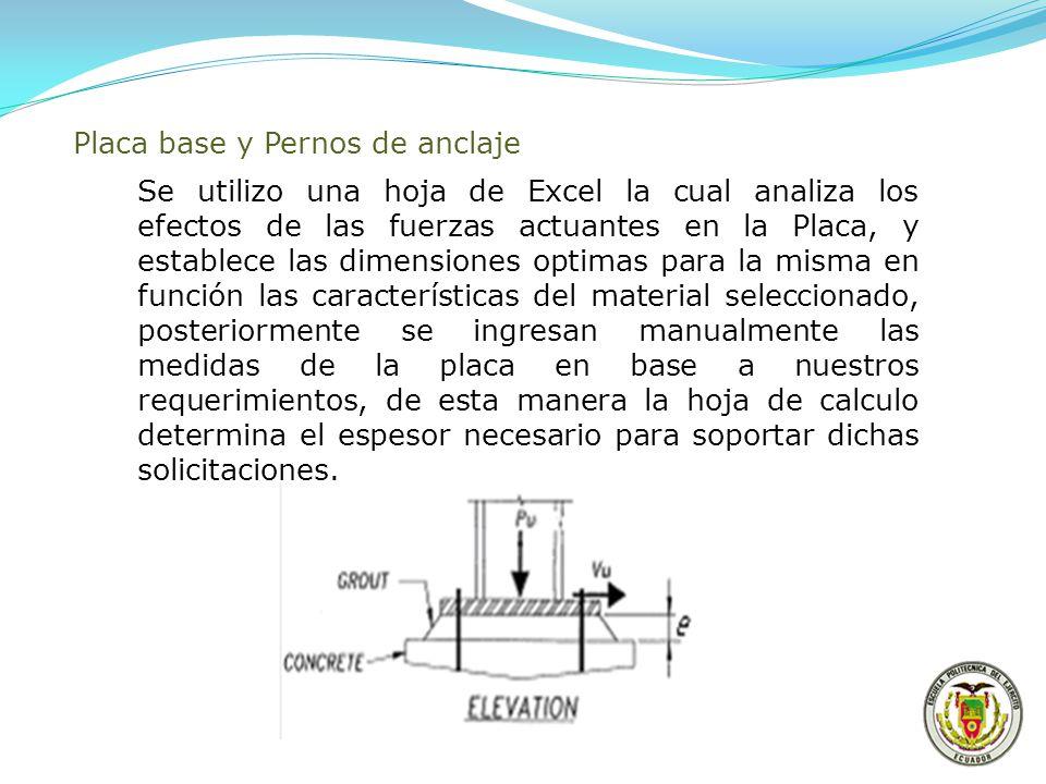 Placa base y Pernos de anclaje Se utilizo una hoja de Excel la cual analiza los efectos de las fuerzas actuantes en la Placa, y establece las dimensio