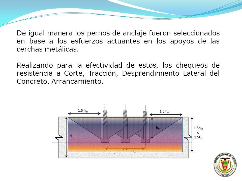 De igual manera los pernos de anclaje fueron seleccionados en base a los esfuerzos actuantes en los apoyos de las cerchas metálicas. Realizando para l