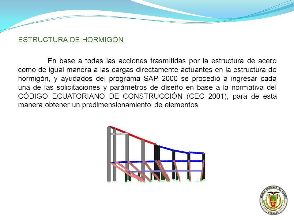 ESTRUCTURA DE HORMIGÓN En base a todas las acciones trasmitidas por la estructura de acero como de igual manera a las cargas directamente actuantes en
