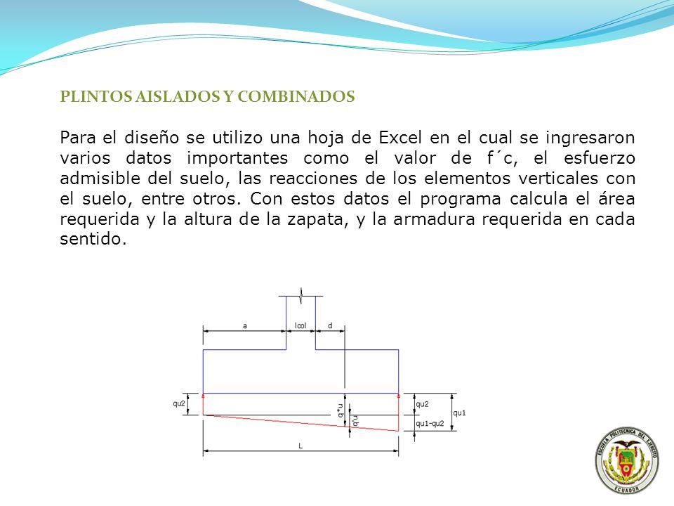 PLINTOS AISLADOS Y COMBINADOS Para el diseño se utilizo una hoja de Excel en el cual se ingresaron varios datos importantes como el valor de f´c, el e