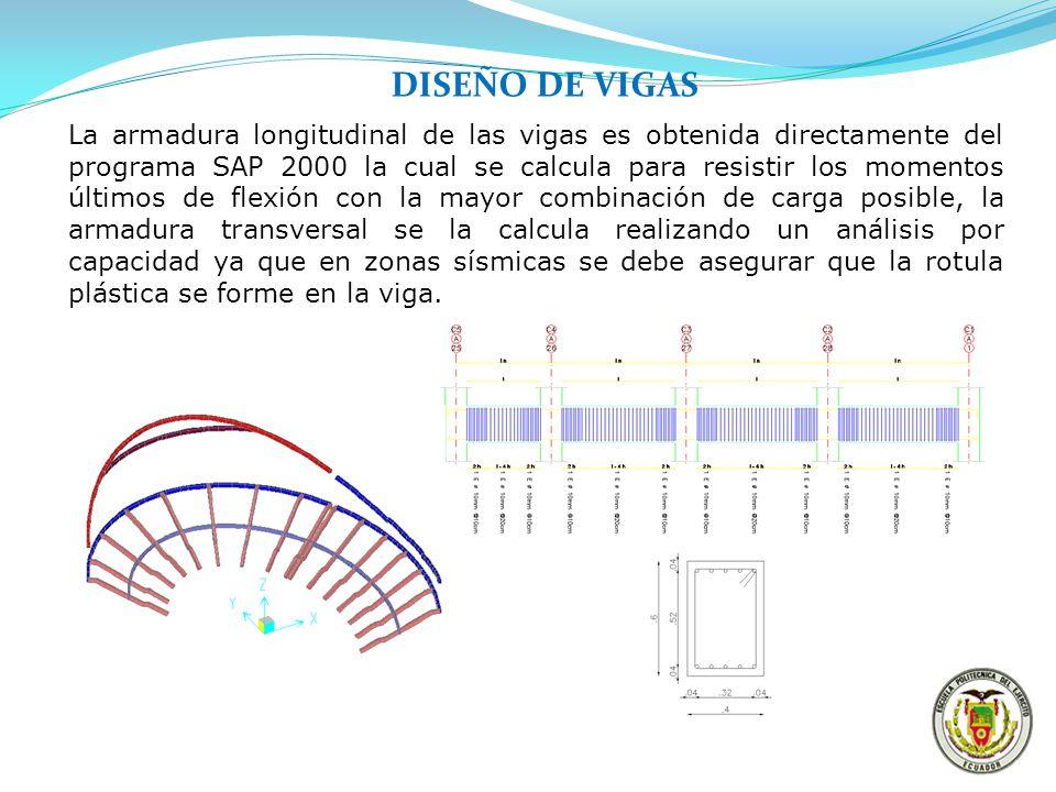 DISEÑO DE VIGAS La armadura longitudinal de las vigas es obtenida directamente del programa SAP 2000 la cual se calcula para resistir los momentos últ