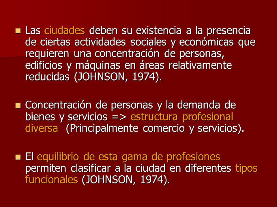 Las ciudades deben su existencia a la presencia de ciertas actividades sociales y económicas que requieren una concentración de personas, edificios y máquinas en áreas relativamente reducidas (JOHNSON, 1974).