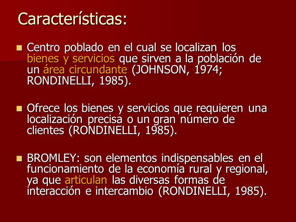 Centro poblado en el cual se localizan los bienes y servicios que sirven a la población de un área circundante (JOHNSON, 1974; RONDINELLI, 1985).