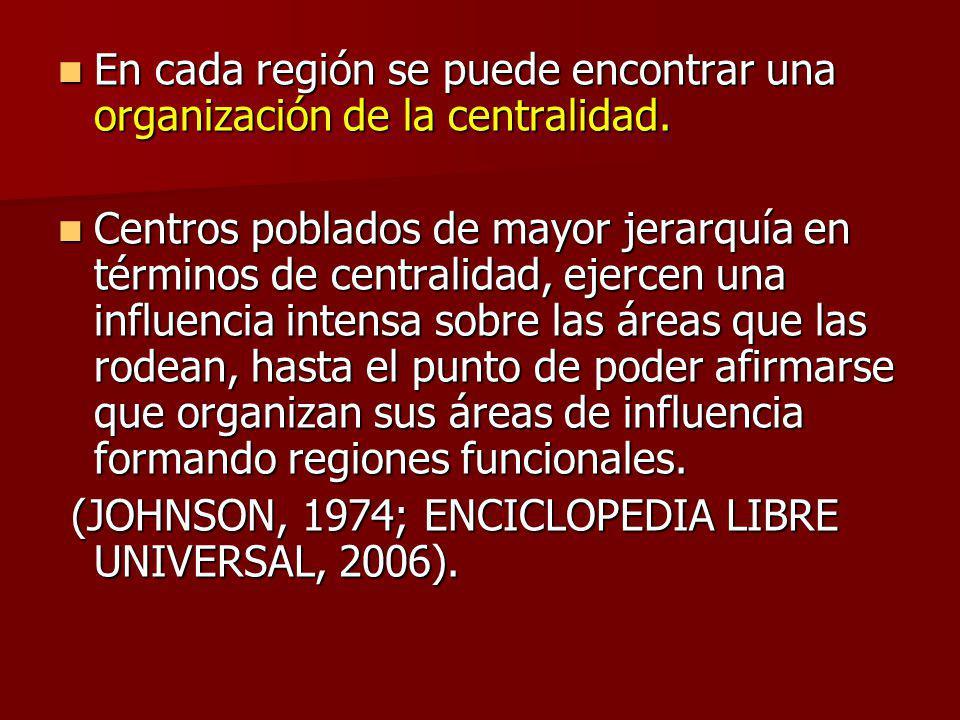 En cada región se puede encontrar una organización de la centralidad.