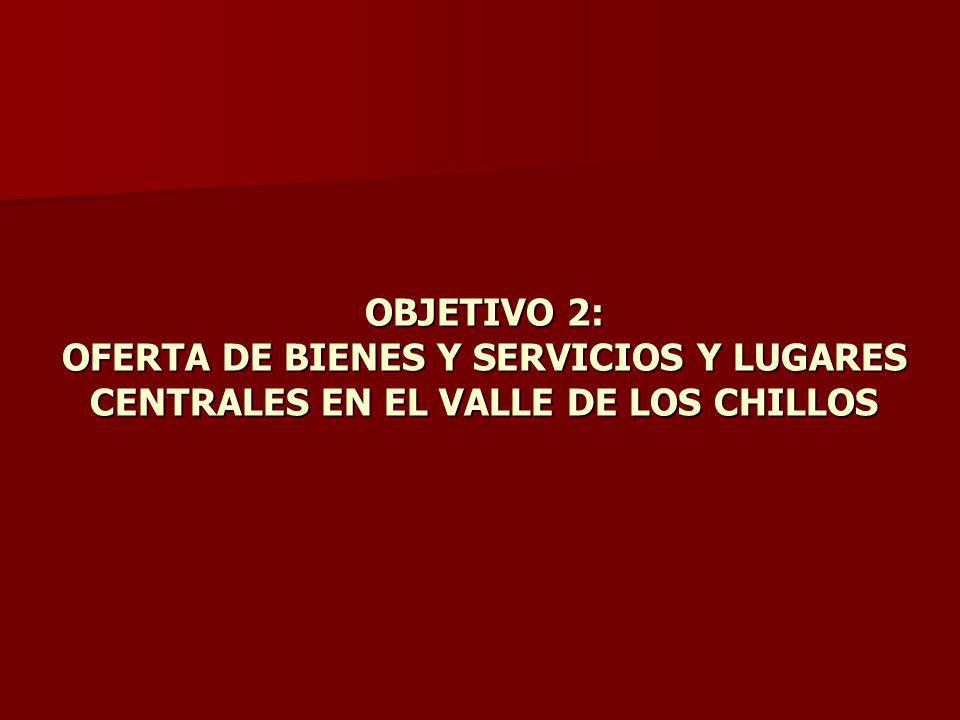 OBJETIVO 2: OFERTA DE BIENES Y SERVICIOS Y LUGARES CENTRALES EN EL VALLE DE LOS CHILLOS
