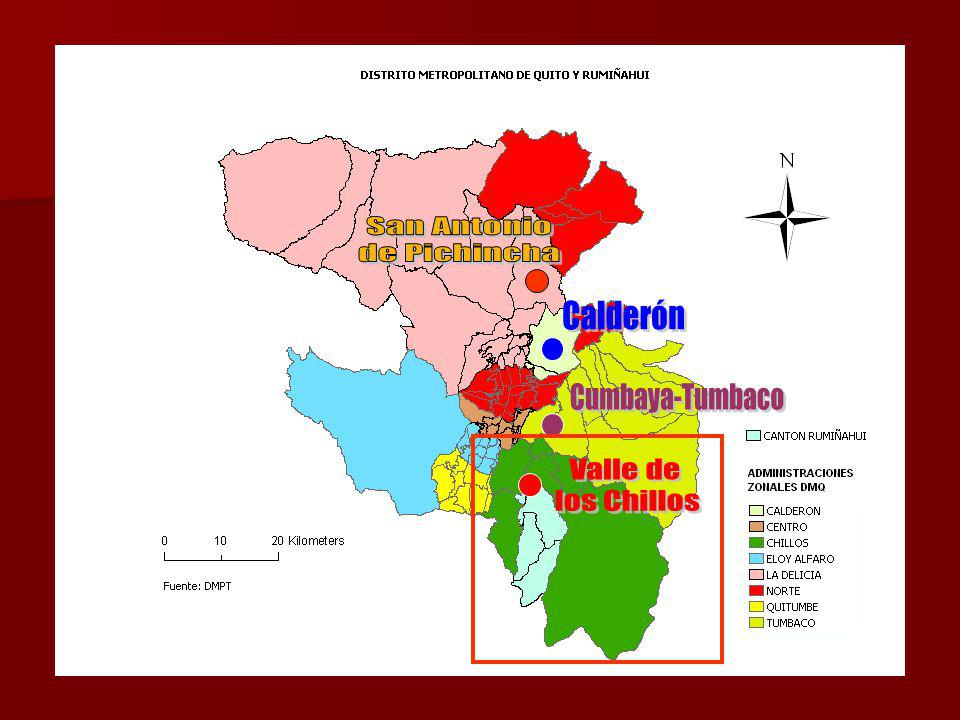 Atracción funcional de las parroquias del Valle de los Chillos (2007)