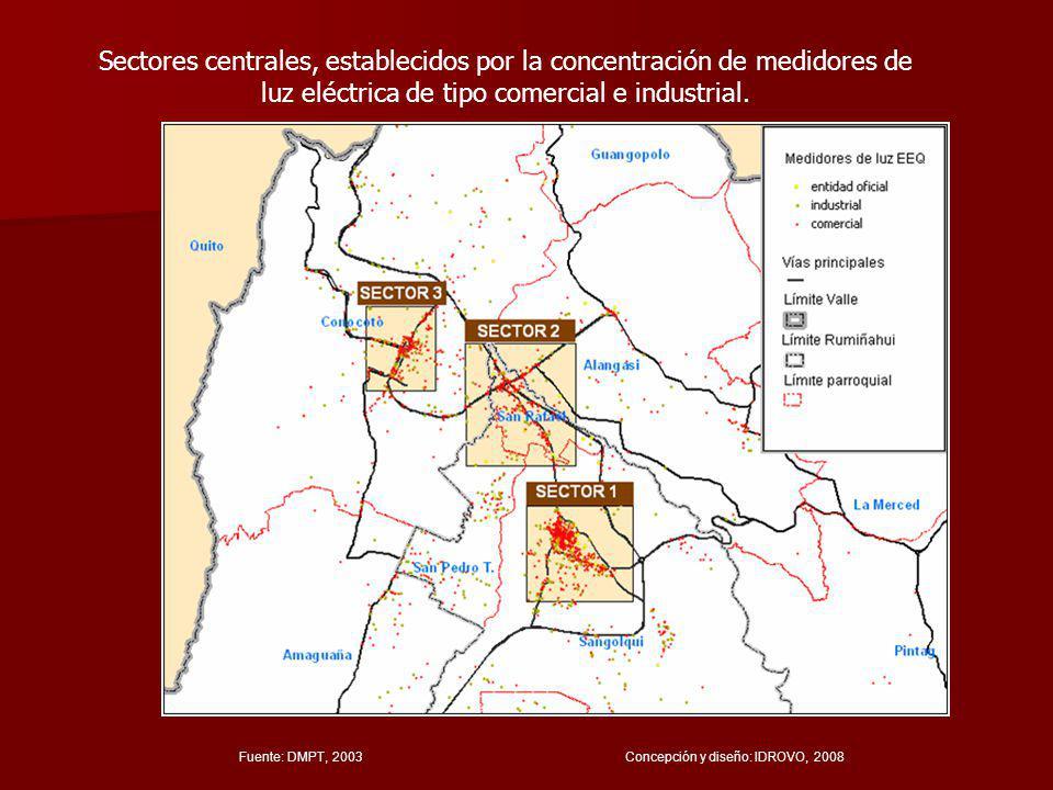 Fuente: DMPT, 2003 Concepción y diseño: IDROVO, 2008 Sectores centrales, establecidos por la concentración de medidores de luz eléctrica de tipo comercial e industrial.