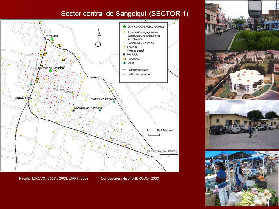 Sector central de Sangolquí (SECTOR 1) Fuente: IDROVO, 2007 y 2008; DMPT, 2003 Concepción y diseño: IDROVO, 2008