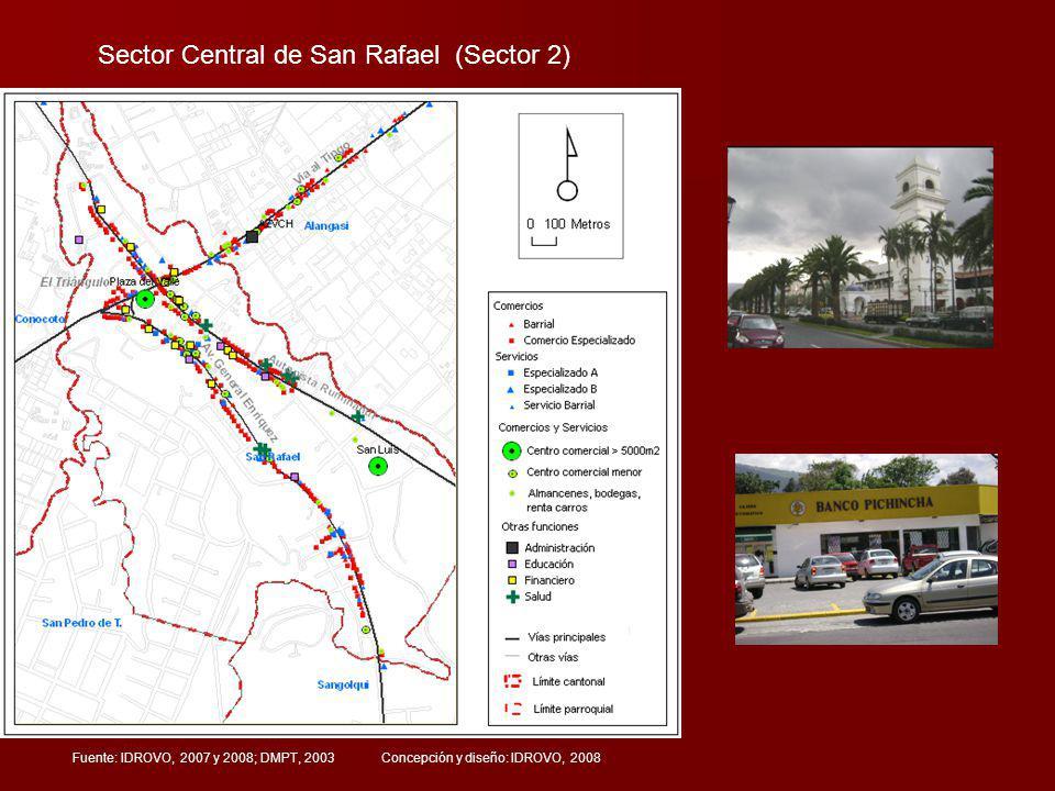 Sector Central de San Rafael (Sector 2) Fuente: IDROVO, 2007 y 2008; DMPT, 2003 Concepción y diseño: IDROVO, 2008