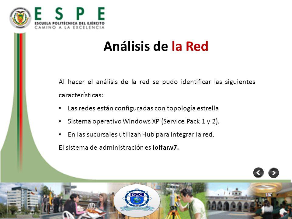 Análisis de la Red Al hacer el análisis de la red se pudo identificar las siguientes características: Las redes están configuradas con topología estre