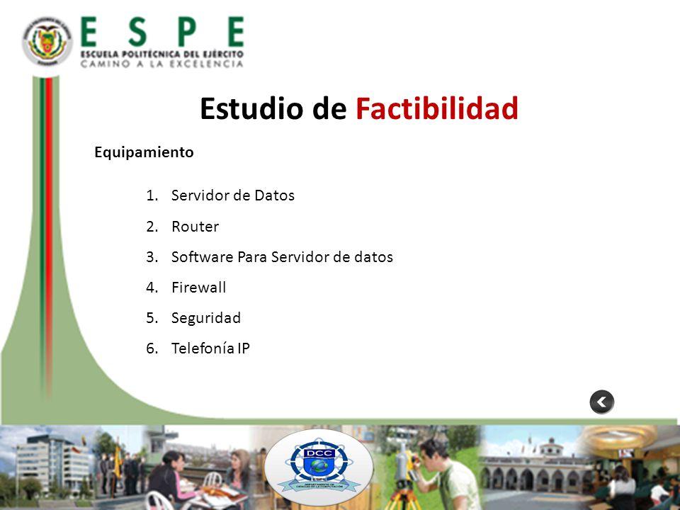 Estudio de Factibilidad Equipamiento 1.Servidor de Datos 2.Router 3.Software Para Servidor de datos 4.Firewall 5.Seguridad 6.Telefonía IP