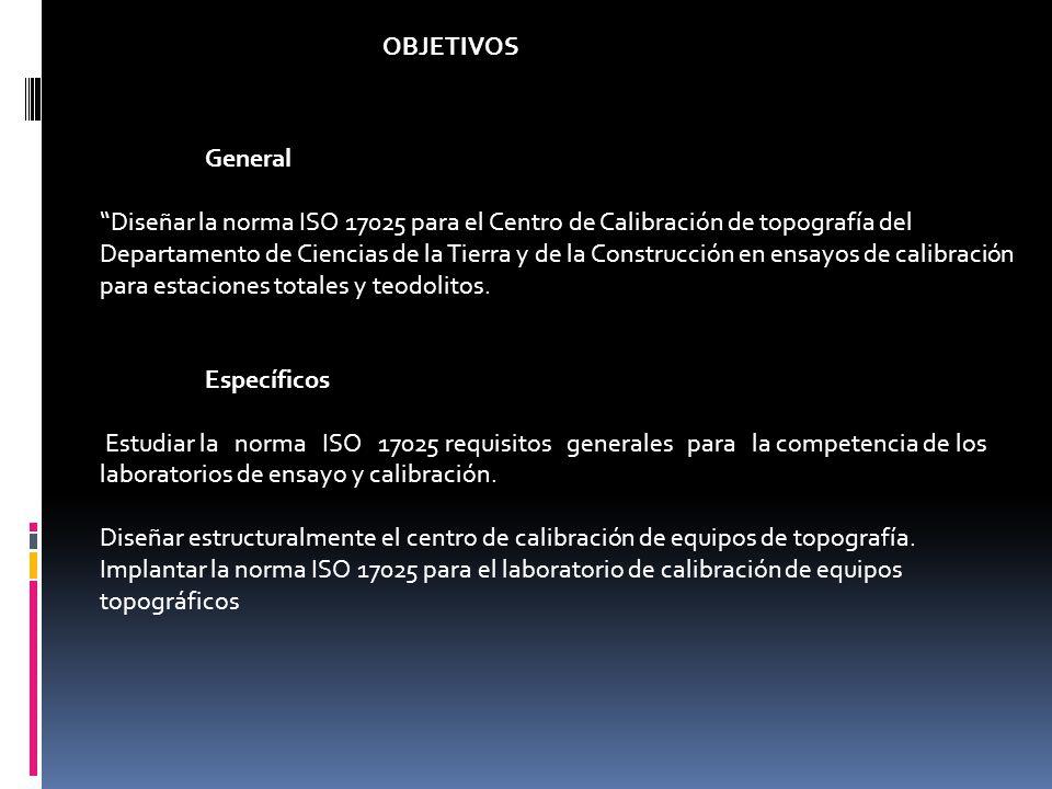 General Diseñar la norma ISO 17025 para el Centro de Calibración de topografía del Departamento de Ciencias de la Tierra y de la Construcción en ensay