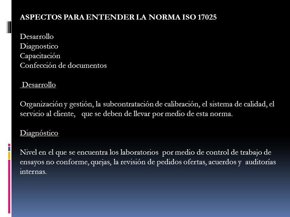 ASPECTOS PARA ENTENDER LA NORMA ISO 17025 Desarrollo Diagnostico Capacitación Confección de documentos Desarrollo Organización y gestión, la subcontra