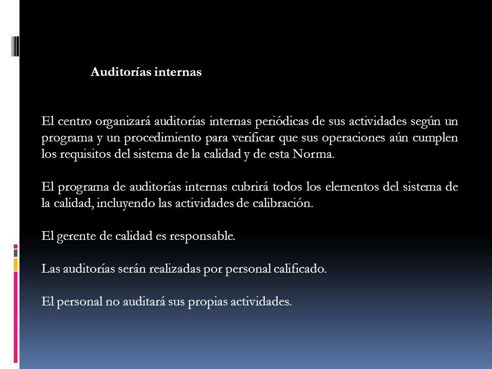 Auditorías internas El centro organizará auditorías internas periódicas de sus actividades según un programa y un procedimiento para verificar que sus
