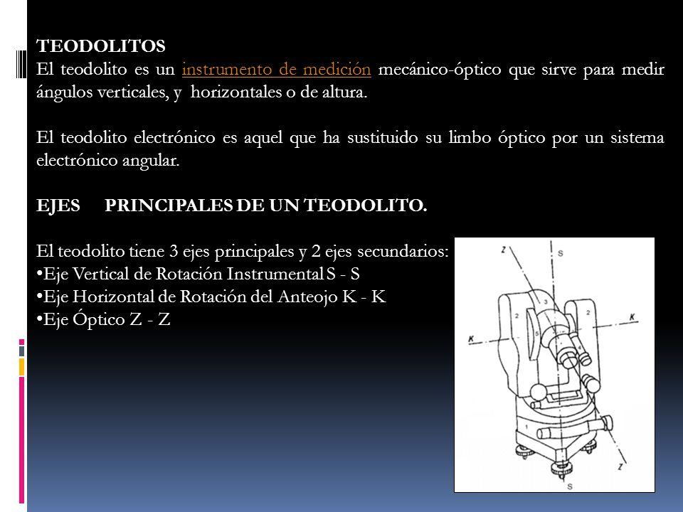TEODOLITOS El teodolito es un instrumento de medición mecánico-óptico que sirve para medir ángulos verticales, y horizontales o de altura.instrumento
