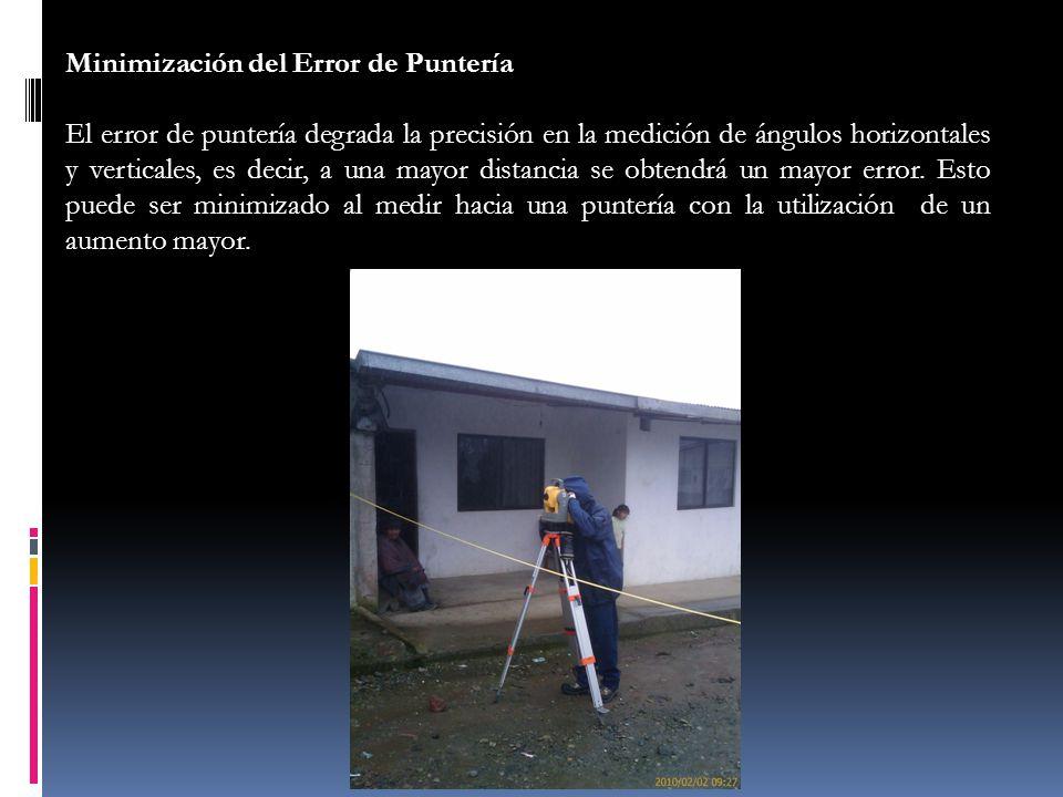 Minimización del Error de Puntería El error de puntería degrada la precisión en la medición de ángulos horizontales y verticales, es decir, a una mayo