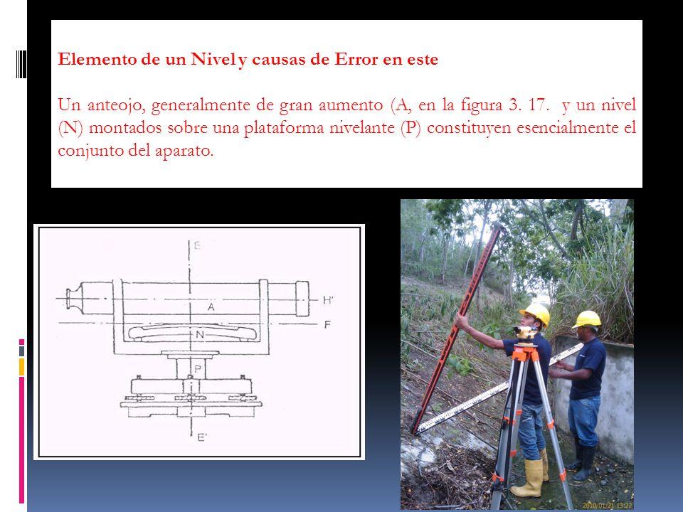 ERRORES Elemento de un Nivel y causas de Error en este Un anteojo, generalmente de gran aumento (A, en la figura 3. 17. y un nivel (N) montados sobre