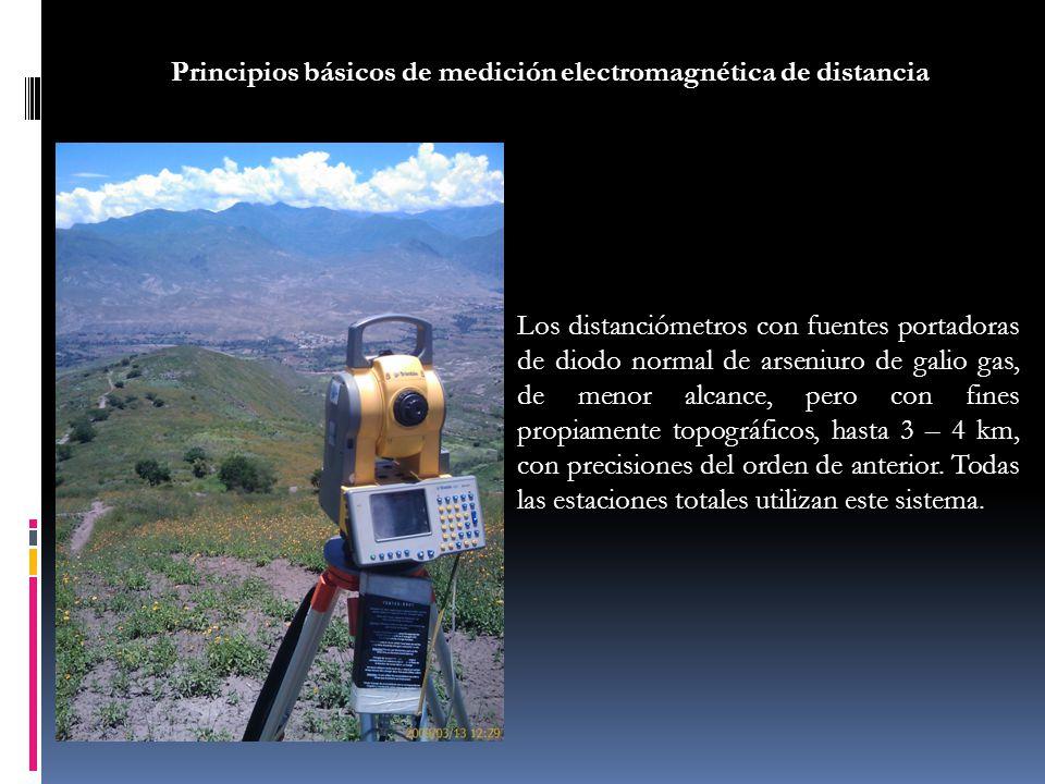 Los distanciómetros con fuentes portadoras de diodo normal de arseniuro de galio gas, de menor alcance, pero con fines propiamente topográficos, hasta