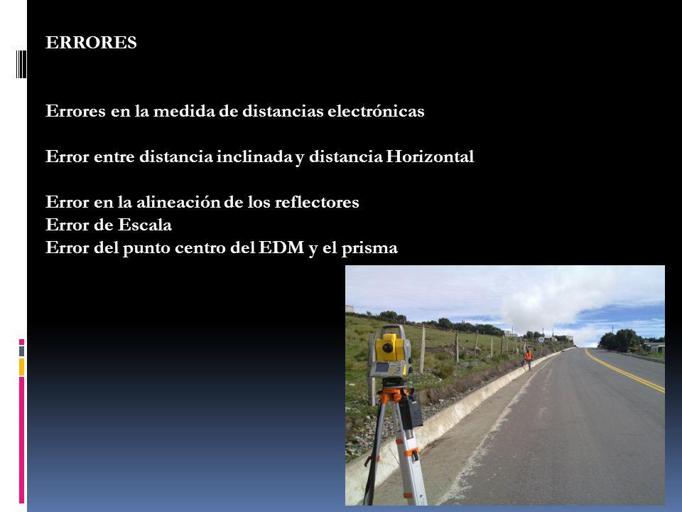 ERRORES Errores en la medida de distancias electrónicas Error entre distancia inclinada y distancia Horizontal Error en la alineación de los reflector