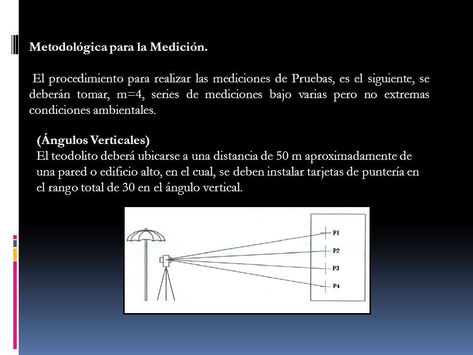 Metodológica para la Medición. El procedimiento para realizar las mediciones de Pruebas, es el siguiente, se deberán tomar, m=4, series de mediciones