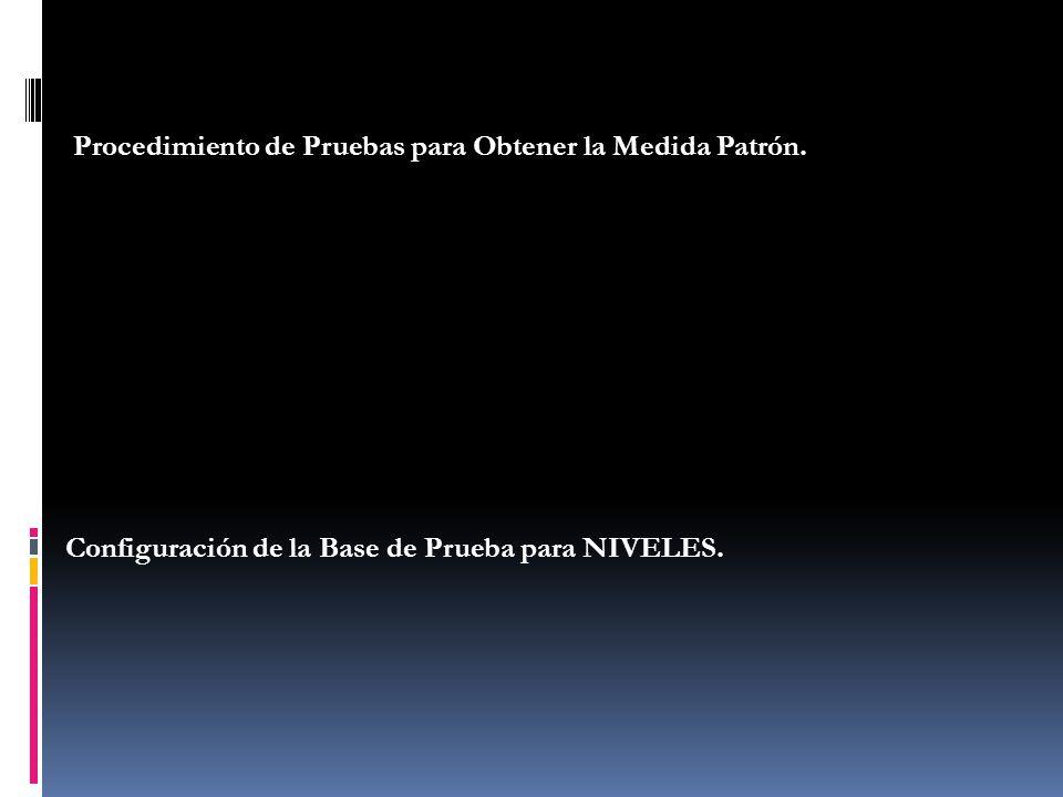 Procedimiento de Pruebas para Obtener la Medida Patrón. Configuración de la Base de Prueba para NIVELES.