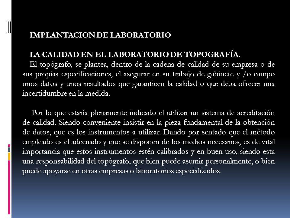 IMPLANTACION DE LABORATORIO LA CALIDAD EN EL LABORATORIO DE TOPOGRAFÍA. El topógrafo, se plantea, dentro de la cadena de calidad de su empresa o de su