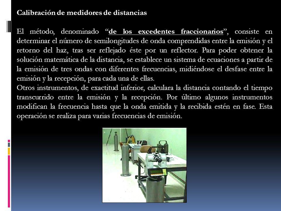 Calibración de medidores de distancias El método, denominado de los excedentes fraccionarios, consiste en determinar el número de semilongitudes de on