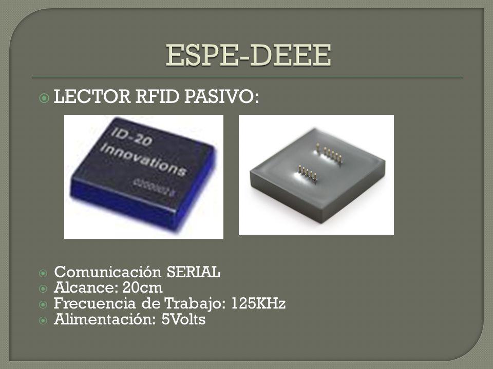 LECTOR RFID PASIVO: Comunicación SERIAL Alcance: 20cm Frecuencia de Trabajo: 125KHz Alimentación: 5Volts