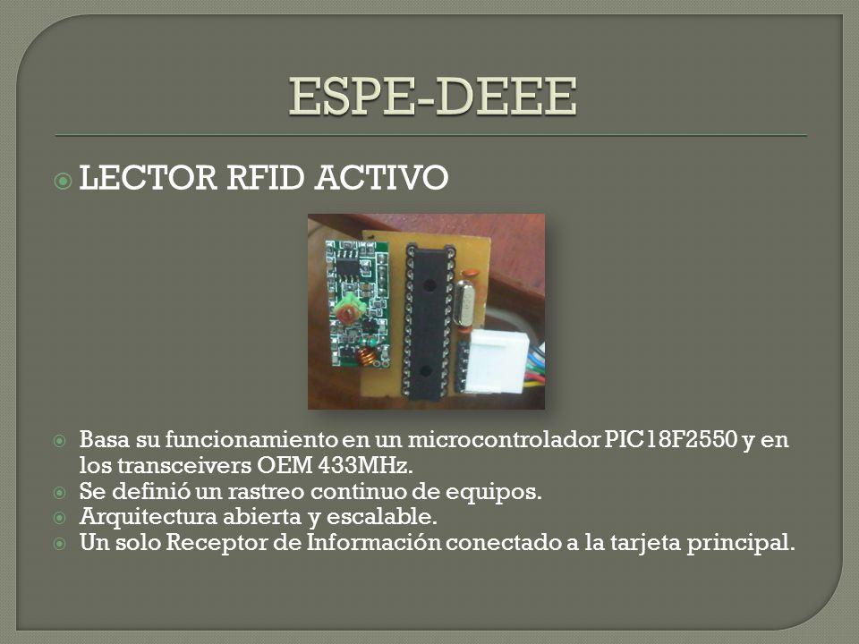 LECTOR RFID ACTIVO Basa su funcionamiento en un microcontrolador PIC18F2550 y en los transceivers OEM 433MHz. Se definió un rastreo continuo de equipo