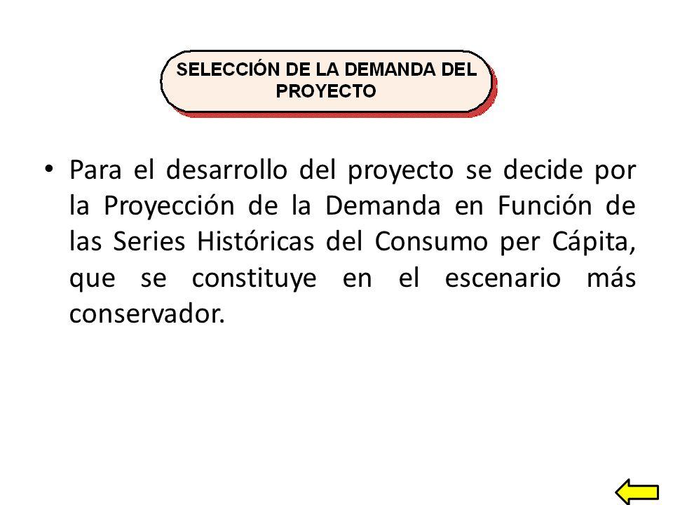 Para el desarrollo del proyecto se decide por la Proyección de la Demanda en Función de las Series Históricas del Consumo per Cápita, que se constituye en el escenario más conservador.