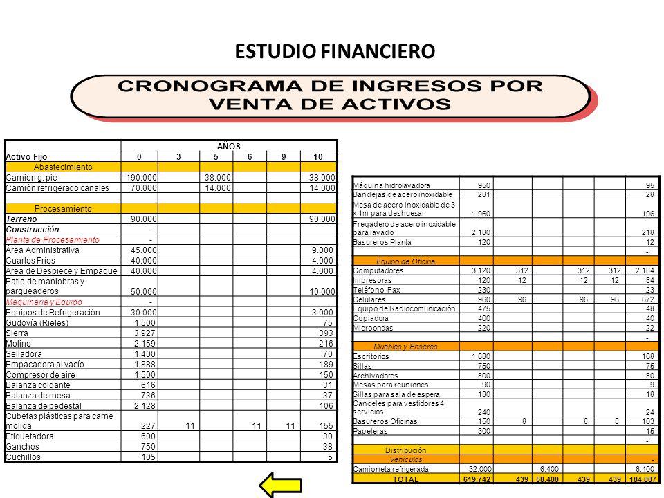 ESTUDIO FINANCIERO AÑOS Activo Fijo0356910 Abastecimiento Camión g.