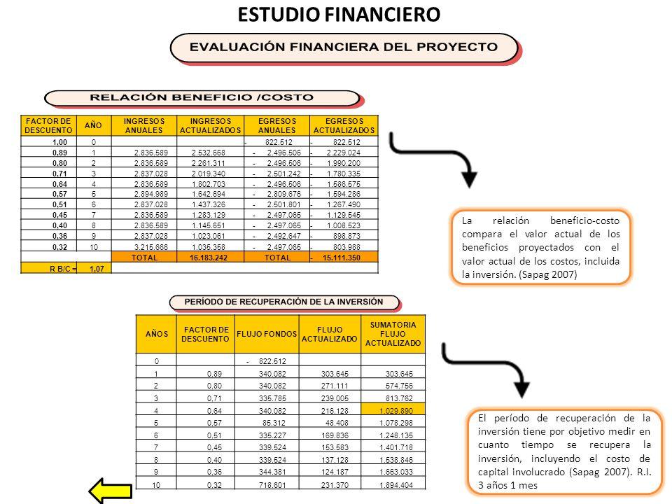 ESTUDIO FINANCIERO El período de recuperación de la inversión tiene por objetivo medir en cuanto tiempo se recupera la inversión, incluyendo el costo de capital involucrado (Sapag 2007).