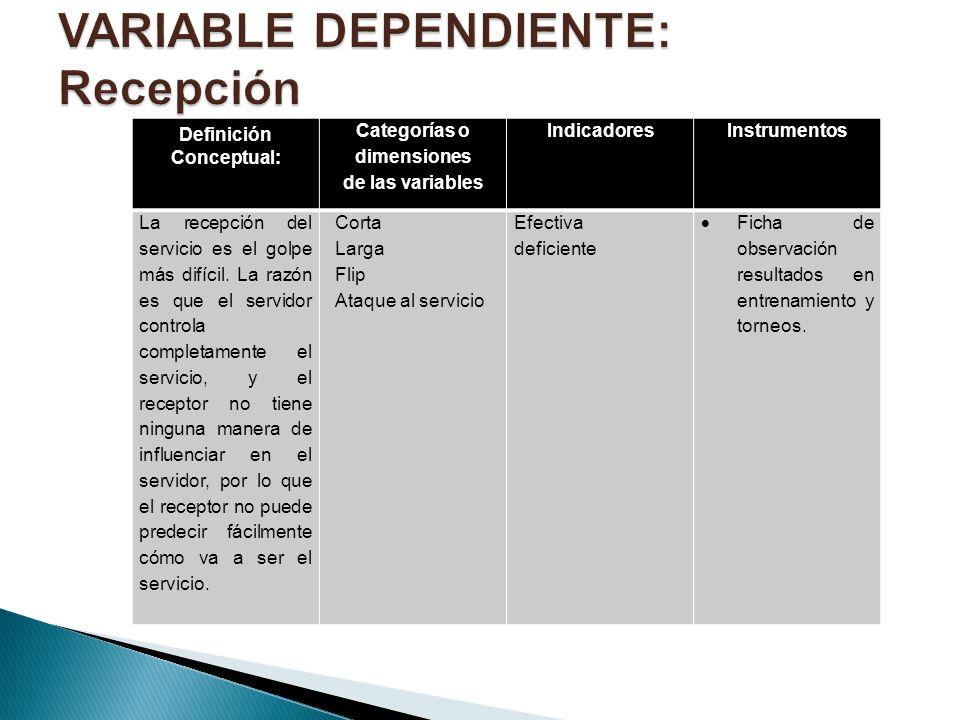Definición Conceptual: Categorías o dimensiones de las variables IndicadoresInstrumentos La recepción del servicio es el golpe más difícil. La razón e