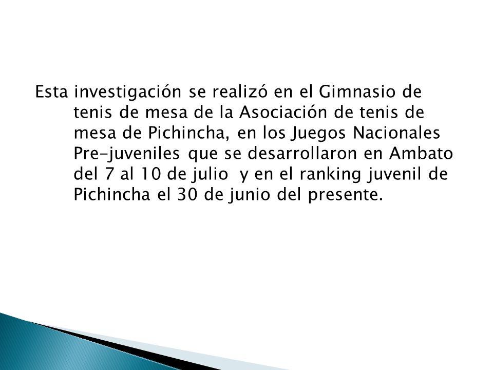 Esta investigación se realizó en el Gimnasio de tenis de mesa de la Asociación de tenis de mesa de Pichincha, en los Juegos Nacionales Pre-juveniles q