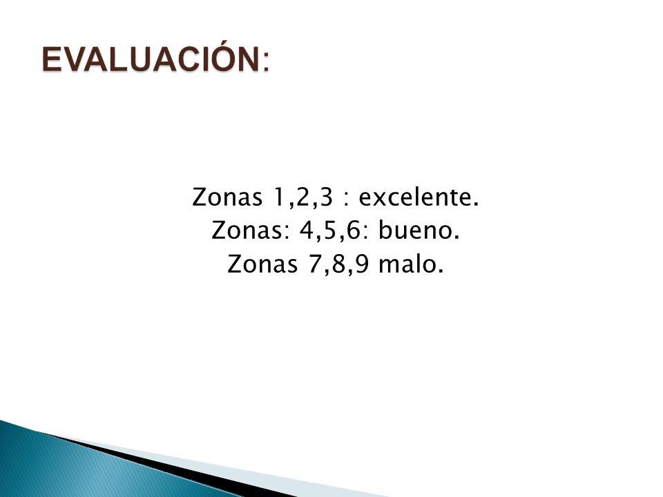 Zonas 1,2,3 : excelente. Zonas: 4,5,6: bueno. Zonas 7,8,9 malo.