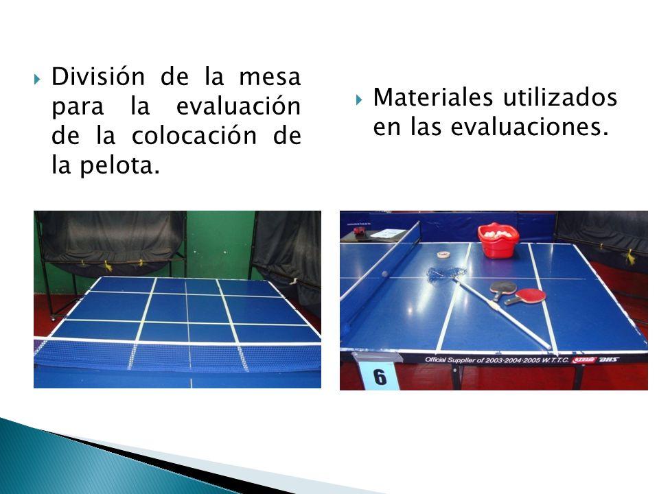 Materiales utilizados en las evaluaciones. División de la mesa para la evaluación de la colocación de la pelota.