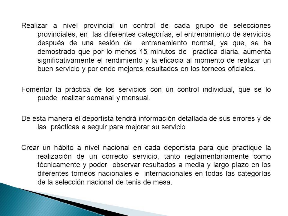 Realizar a nivel provincial un control de cada grupo de selecciones provinciales, en las diferentes categorías, el entrenamiento de servicios después
