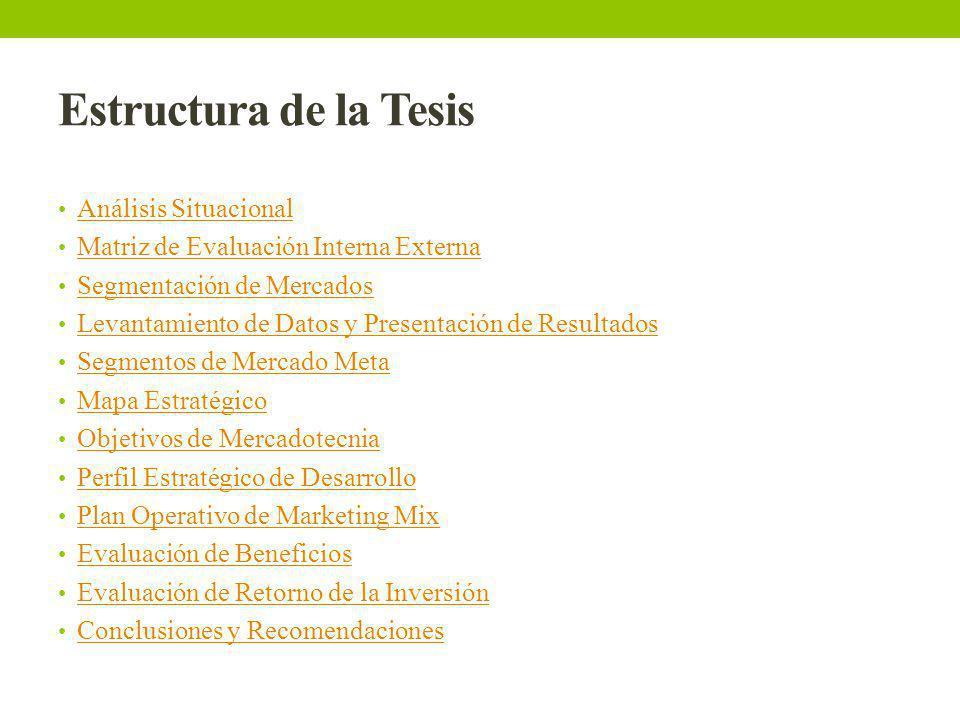 Estructura de la Tesis Análisis Situacional Matriz de Evaluación Interna Externa Segmentación de Mercados Levantamiento de Datos y Presentación de Res