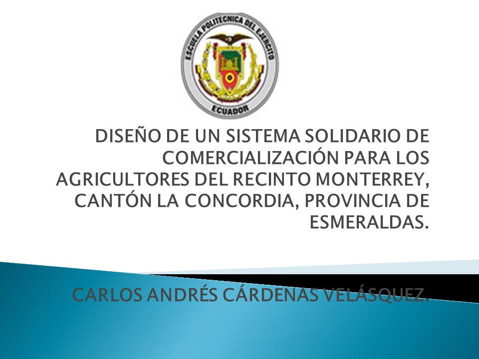 DISEÑO DE UN SISTEMA SOLIDARIO DE COMERCIALIZACIÓN PARA LOS AGRICULTORES DEL RECINTO MONTERREY, CANTÓN LA CONCORDIA, PROVINCIA DE ESMERALDAS. CARLOS A