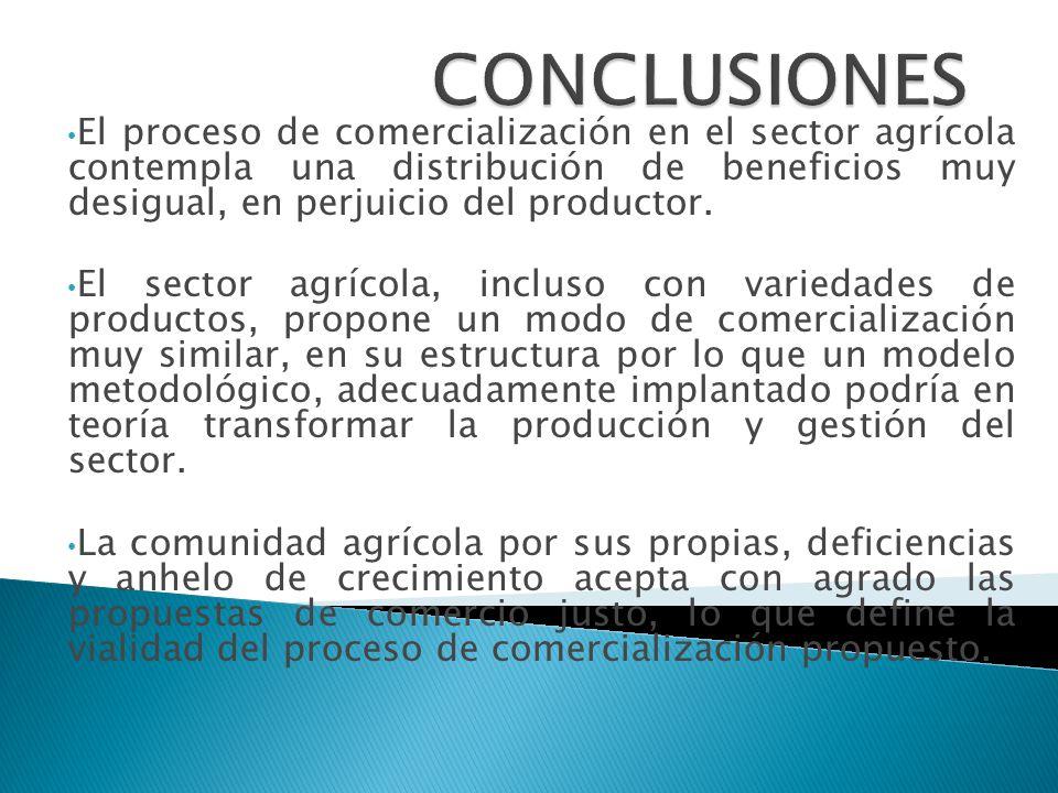 El proceso de comercialización en el sector agrícola contempla una distribución de beneficios muy desigual, en perjuicio del productor. El sector agrí