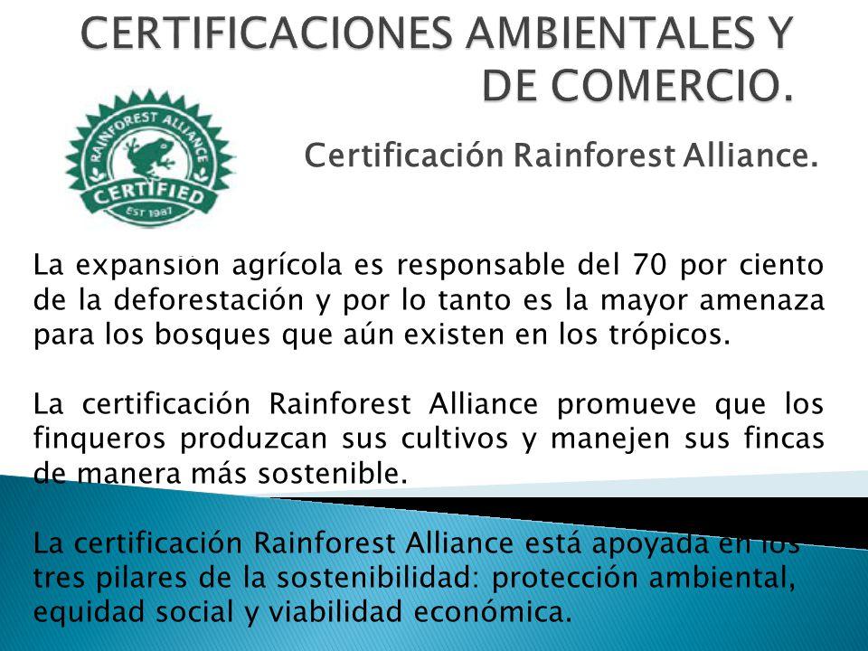 Certificación Rainforest Alliance. La expansión agrícola es responsable del 70 por ciento de la deforestación y por lo tanto es la mayor amenaza para