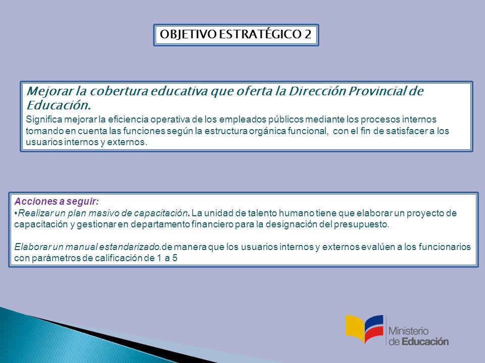 OBJETIVO ESTRATÉGICO 2 Mejorar la cobertura educativa que oferta la Dirección Provincial de Educación.