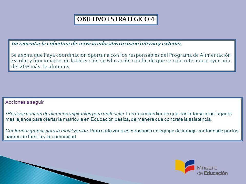 OBJETIVO ESTRATÉGICO 4 Incrementar la cobertura de servicio educativo usuario interno y externo.