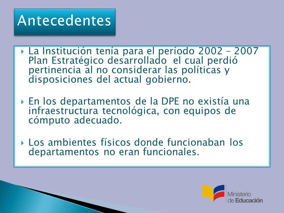 La Institución tenía para el período 2002 – 2007 Plan Estratégico desarrollado el cual perdió pertinencia al no considerar las políticas y disposiciones del actual gobierno.