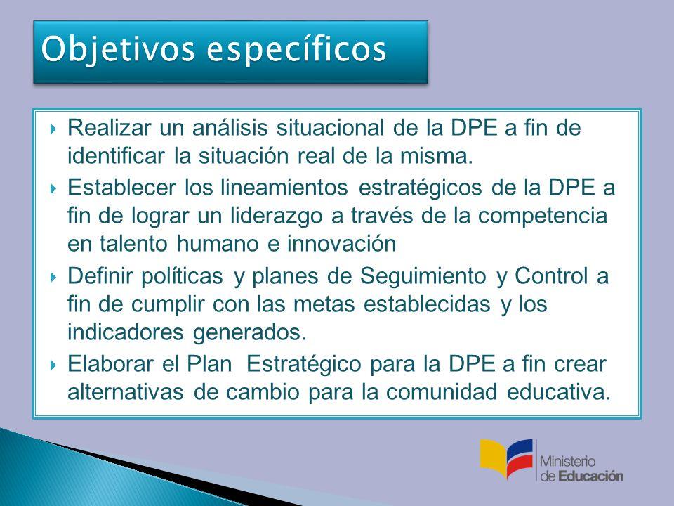 Realizar un análisis situacional de la DPE a fin de identificar la situación real de la misma.