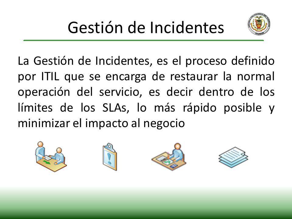 La Gestión de Incidentes, es el proceso definido por ITIL que se encarga de restaurar la normal operación del servicio, es decir dentro de los límites