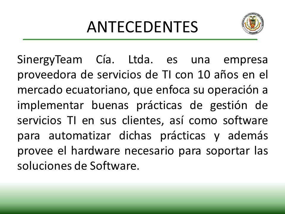 SinergyTeam Cía. Ltda. es una empresa proveedora de servicios de TI con 10 años en el mercado ecuatoriano, que enfoca su operación a implementar buena