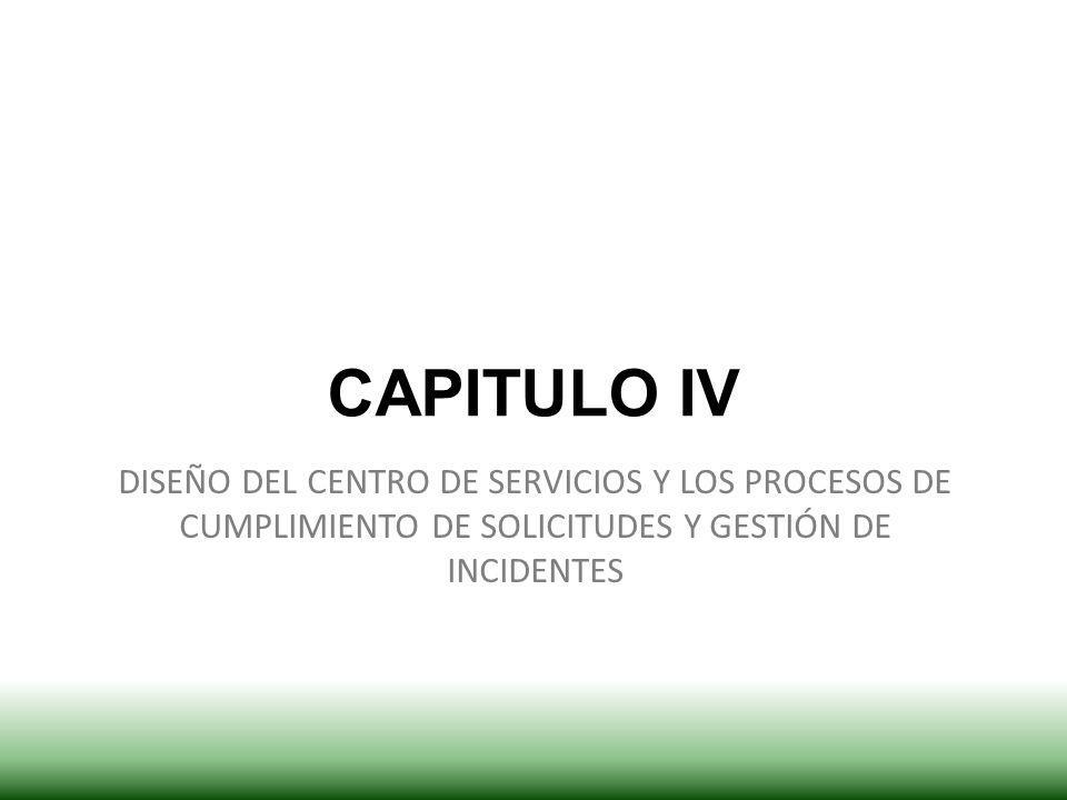 CAPITULO IV DISEÑO DEL CENTRO DE SERVICIOS Y LOS PROCESOS DE CUMPLIMIENTO DE SOLICITUDES Y GESTIÓN DE INCIDENTES