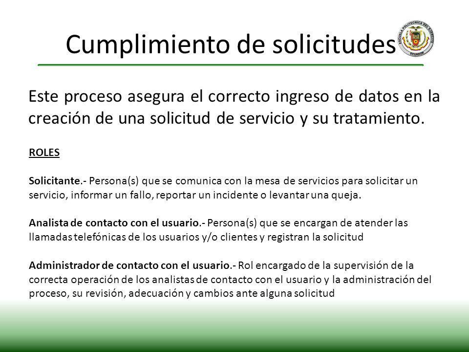 Este proceso asegura el correcto ingreso de datos en la creación de una solicitud de servicio y su tratamiento. Cumplimiento de solicitudes. ROLES Sol